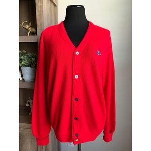 Izod Lacoste Vintage Alligator Red Cardigan L